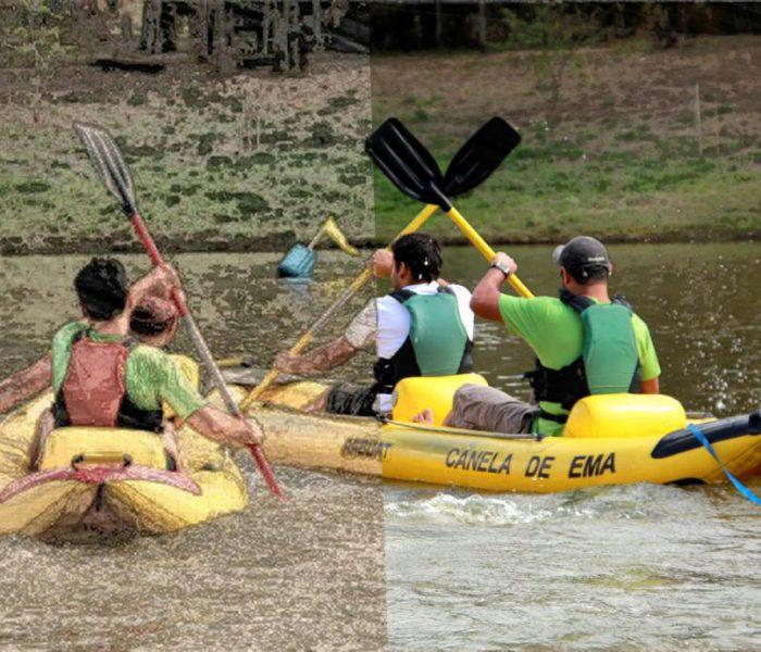 Duas canoas, cada uma com duas pessoas, praticando o esporte canoagem. As pessoas são retratadas de costas. Pode-se ver a borda do lago ao fundo. A imagem é dividida ao meio por uma linha vertical; a metade esquerda da imagem é desenho, e a metade direita é fotografia.